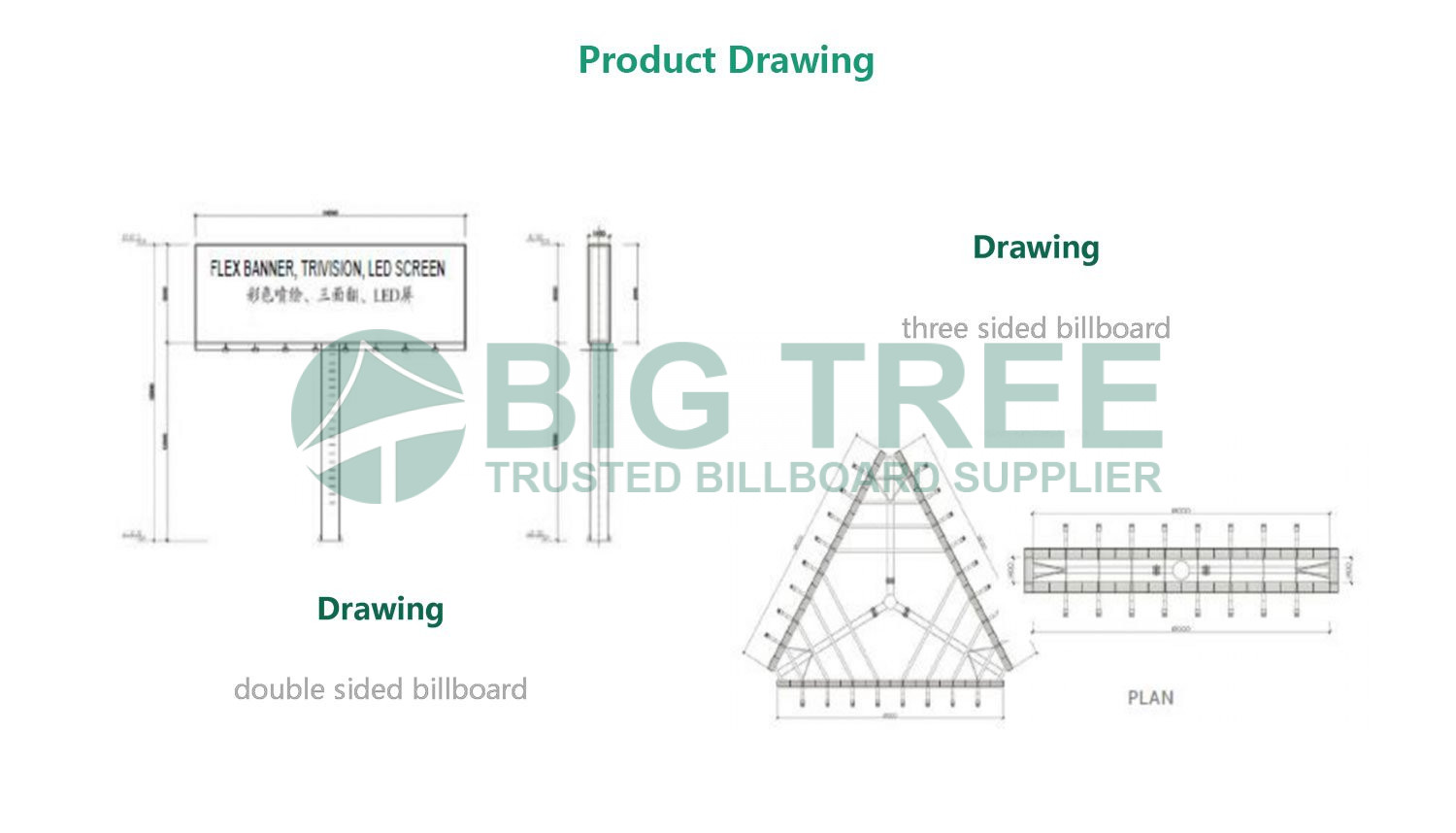 Double-Sided-Advertising-Unipole-Billboard drawing