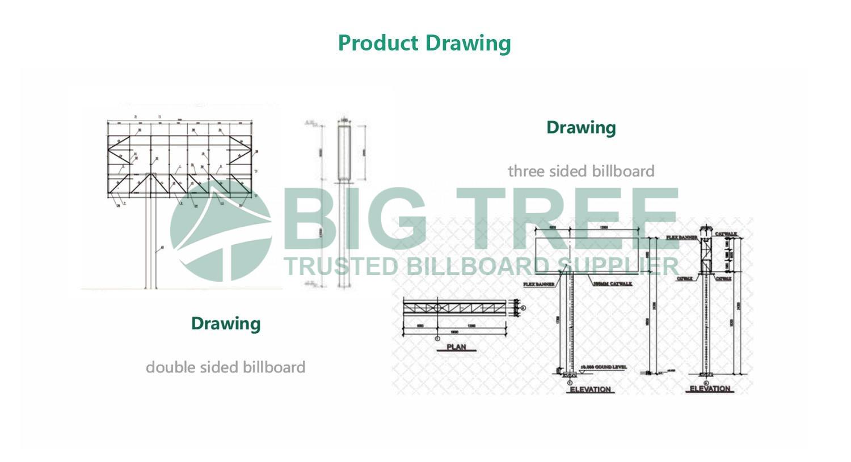 Off-Center-Unipole-Advertising-Billboard drawing