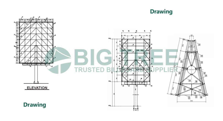 Vertical-Advertising-Unipole-Billboard drawing
