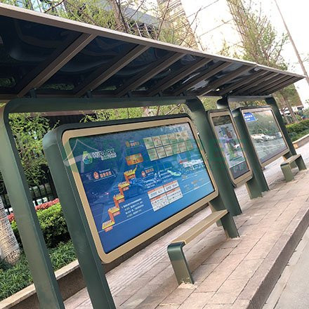 outdoor street bus stop shelter for sale with mupi advertising display-4