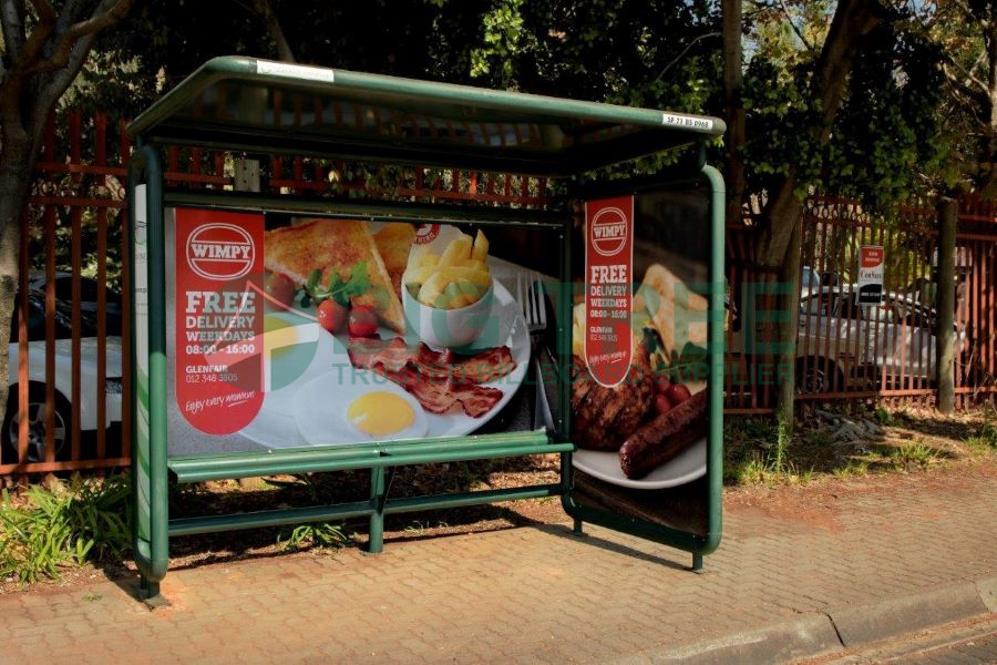 Bus stop sign advertising picture